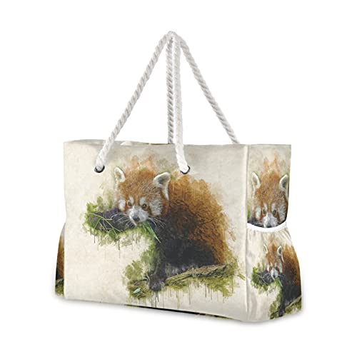 MALPLENA Animal Lemur acuarela pintura mujer totalizador bolsa de hombro playa