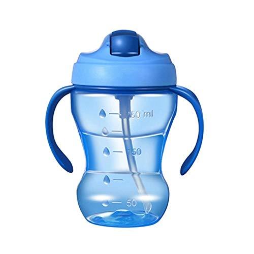 Ysswjzz Leren Beker Te Drinken, Fleshandvatten En Fopspeen, Babybeker 6+ Maanden Met Afneembare Handgrepen, Accessoires for Babyvoeding, 260 Ml (Color : Blue)