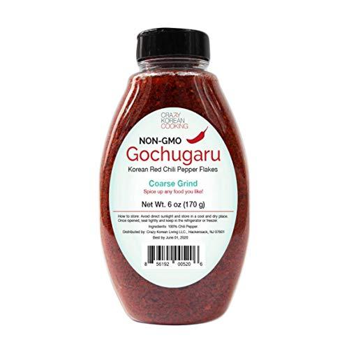Non-GMO, Gochugaru, Kosher, Gluten Free, No additives, Korean Red Pepper Powder Flakes, Coarse Grind 6 OZ