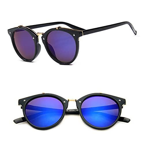 ShSnnwrl Gafas De Moda Gafas De Sol Vintage Metal Rice Nail Gafas De Sol Mujeres Retro Redondo Espejo Gafas De Sol ModaGafas De Cara Pequeña Blackgree
