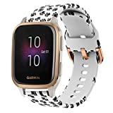 YOFUNTLE Compatible for Garmin Venu Sq Music Band,Women Soft Silicone Sport Wristband Bracelet Pattern Printed Replacement Accessories Strap for Garmin Venu Sq/Venu Sq Music,Vivoactive 3 (Footprint)