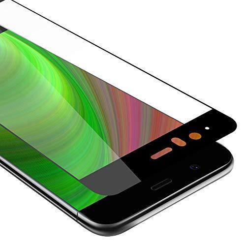 Cadorabo Vollbild Panzerglasfolie für Huawei P10 - Schutzfolie in TRANSPARENT mit SCHWARZ - Gehärtet (Tempered) Bildschirmschutz Glas in 9H Festigkeit mit 3D Touch Kompatibilität