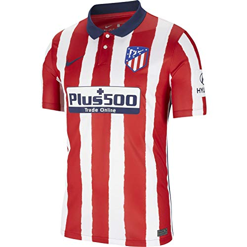 NIKE ATM M NK BRT Stad JSY SS Hm T-Shirt, Hombre, Sport Red/Midnight Navy Full Sponsor, L