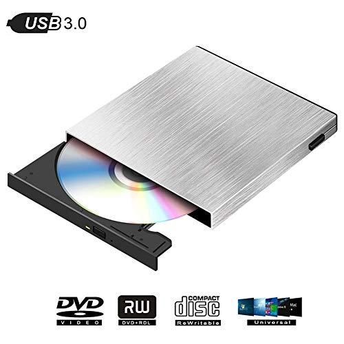 External DVD Drive for Laptop, USB 3.0 Type C Portable CD DVD Player CD Burner External Slot Disk Drive CD Drive, Compatible with Desktop Notebook Win XP/Win 7/Win 8/MAC OS/Win Vista-Silver