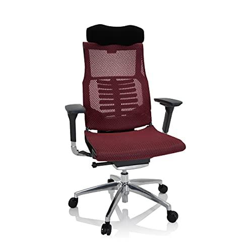 hjh OFFICE 652436 Profi Bürostuhl DYNAFIT Black I Netz Rot/Schwarz ergonomischer Drehstuhl, anatomische Lordosenstütze
