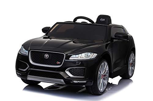 Mondial Toys Auto Macchina ELETTRICA Jaguar F-Pace SUV per Bambini 12V con Sedile in Pelle Cintura di Sicurezza A 5 Punti Telecomando Nera