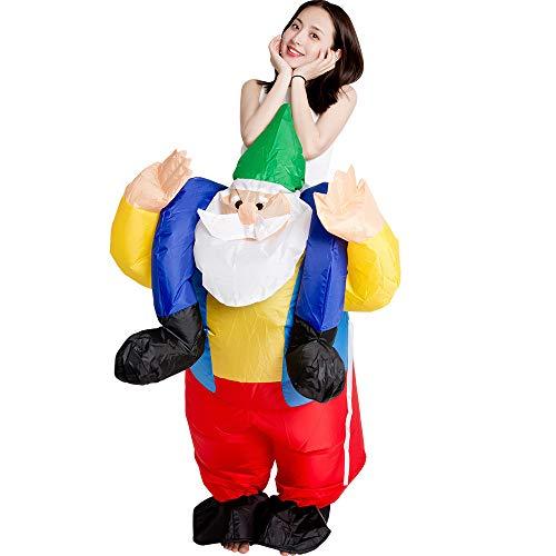 JJAIR Erwachsene Weihnachten aufblasbarer Weihnachtsmann Kostüm, Partei-Abendkleid Bluse Overall