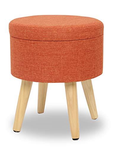 Suhu Pouf Puff Sgabello di Stoccaggio Poggiapiedi Cassapanca Contenitore Rotondo Moderno Basso Design Rosa Gambe in Legno Massello Arancione