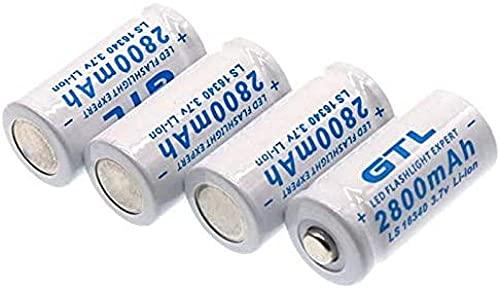 Li Batteryoriginal 3.7V 2800Mah Lithium Li-Ion 16340 Battery Cr123A Rechargeable Batteries 3.7V Cr123 for Laser Pen Led Flashlight Cell 4 Pcs