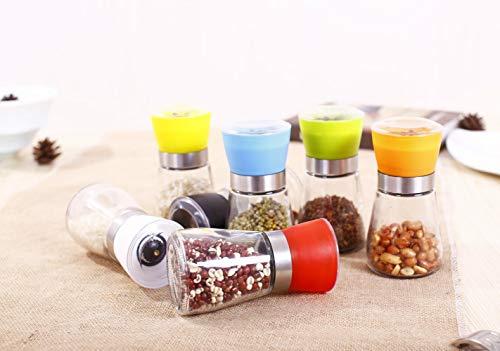 Gouen Kitchen Tools Gadgets Mills Zwarte pepermolen handmatige glazen fles universele kruidenfles keramische kernmolen, rood