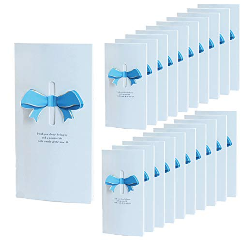 HWT リボン 付 メッセージカード 20枚 ブルー 席札 披露宴 結婚式 用 グリーティングカード ウェルカム カード 立体 (ブルー)