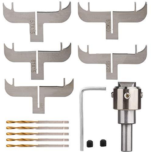 YIREAUD Juego de brocas para pulsera de madera, juego de fresado de anillos de madera para fresadora de máquina CNC (cuchillas+mango+broca de taladro+llave)