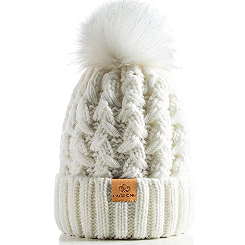 PAGE ONE Womens Winter Ribbed Beanie Crossed Cap Chunky Cable Knit Pompom Soft Warm Hat White