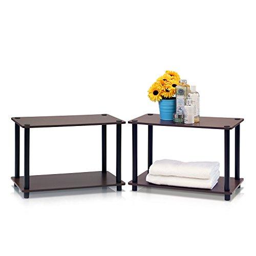 Furinno Regal- / Beistelltischset mit 2 Ebenen, holz, Dunkelbraune Holzmaserung, 29.46 x 29.46 x 40.01 cm