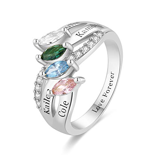 RESVIVI Sterling Silver Customized Mother Name Rings with 2-4 Birthstones Engraving Personalized Stacking Family Name Rings