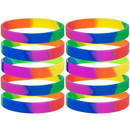 Aerobin - 10 pulseras de silicona con diseño de arcoíris