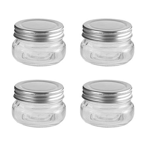 PRETYZOOM 4Pcs 150Ml Glas Candy Glas mit Deckel Lebensmittel Gewürz Vorratsglas Flüssiges Pulver Dappen Teller Schüssel für Weihnachten Hochzeitsfeier Lieferungen