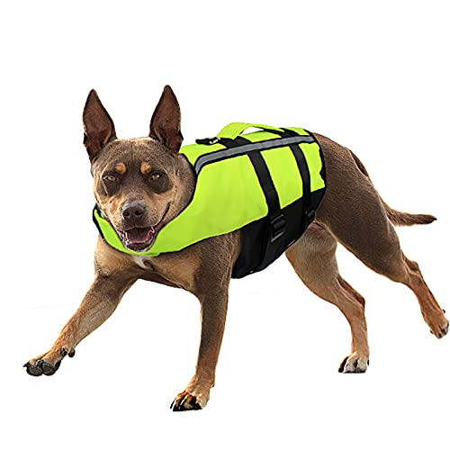 Namsan Adjustable Lifesaver Jacket Dog Life Vest Reflective Preserver Inflatable Safety Dog Life Jacket with Buoyancy & Rescue Handle Flotation Swimsuit for Golden Retriever Dogs, Green Large