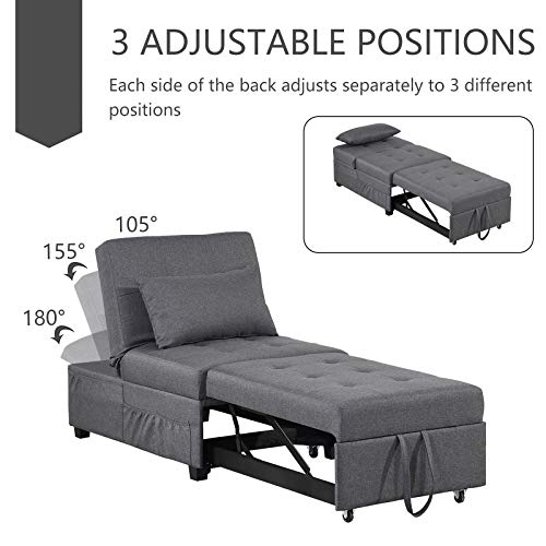 BINGTOO Convertible Chair Sleeper Bed with Lumbar Pillow, 4 in 1 Multi-Function Adjustable Ottoman Bed Bench Guest Sofa Chair, Folding Ottoman Sleeper Guest Bed for Bedroom,Living Room (Dark Gray)