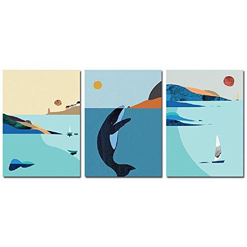 Pintura abstracta de paisaje marino con estampado de ballena azul, póster de mar océano, cuadro de pared para sala de estar, pinturas de pared nórdicas, decoración del hogar, 60x80cmx3 sin marco