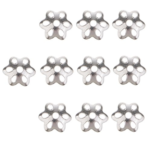 D DOLITY 10pcs Plata de Ley Filigrana Flor Metal Perlas Spacer endkappe Flores Perla Tapas Entre Perlas para fabricar Joyas.