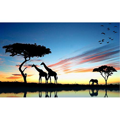 TBWPTS Canvas Schilderij Afrikaanse savanne landschap Hd Print Giraffe olifant Canvas schilderij Poster Wall Art foto woonkamer Home Decor