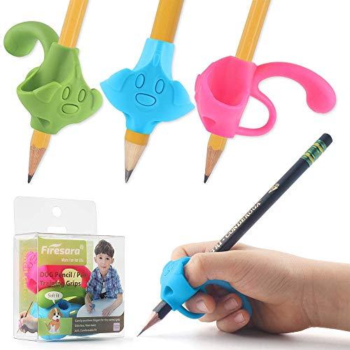 Firesara Top Class lápiz Grips,2019 Nueva Patente Original,Cinco Dedo Fijo y Dos Diámetros de Corrección Escritura Dispositivo de Ayuda para Niños Preescolar Necesidades Especiales (3pcs)