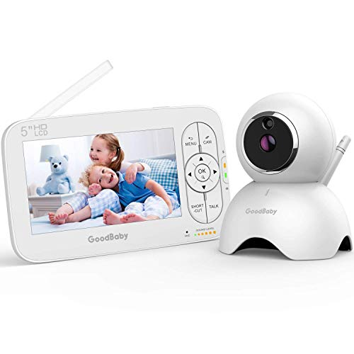 "GOODBABY Real 720P 5"" HD Display Video Baby Monitor with Camera and Audio, Remote Pan&Tilt&Zoom, Two-Way Talk,Temperature Monitor, Night Vision, Lullaby Player, 960ft Range"