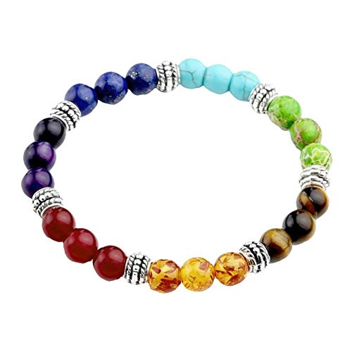 Ogquaton Chakra Bead Bracelets,Chakras 8mm Lava Rock Stone Bangle Oil Diffuser Aromatherapy Yoga Beads Bracelets for Men Women Kids Durable and Useful