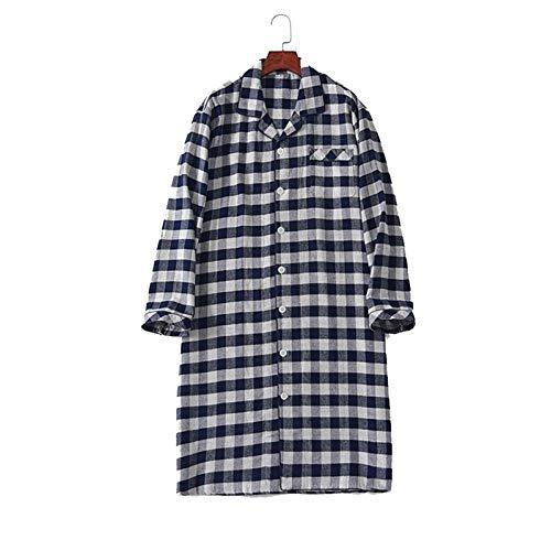JXSM Pijama De Algodón con Camisa De Dormir A Cuadros Contratados para Hombre, Ropa De Dormir Suelta, Diseño De Un Solo Bolsillo, hasta La Rodilla, Suave Y Acogedor (Color : B, Size : Medium)