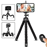 Phone Tripod, Flexible iPhone Tripod and Portable Adjustable Tripod with Wireless Remote and Universal Clip Mount Camera Tripod, Travel Tripod,Tabletop Tripod Compatible with iPhone/Android