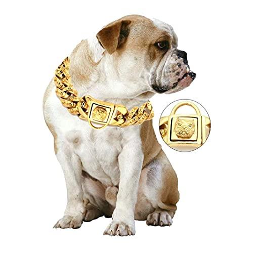 wuquansy Cuello De Cadena De Perros De 30 Mm, Collar De Entrenamiento Cubano De Servicio Pesado De Acero Inoxidable para Pequeños, Medianos, Grandes Perros(Size:40cm)