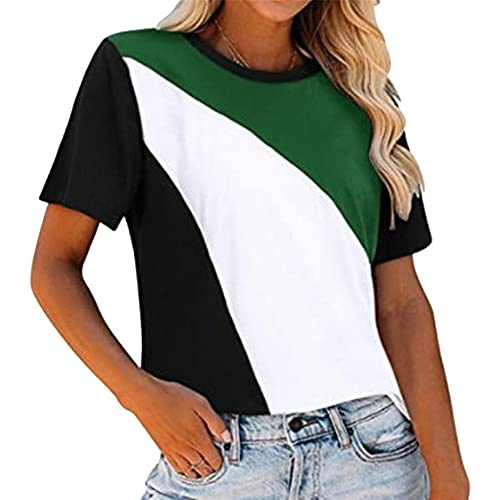 Camiseta a rayas para mujer, manga corta, cuello redondo, bloques de color, empalme, blusas, camisas de manga corta, camiseta, blusas de túnica jerséis para mujer, tops, cuello redondo, jersey a rayas