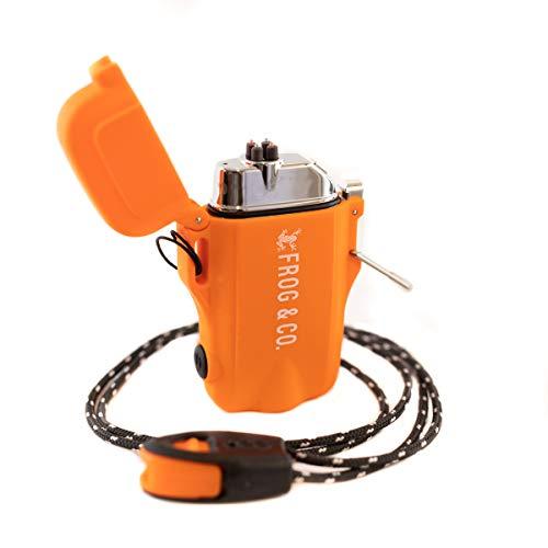 Tough Tesla Lighter 2.0 – Outdoor Waterproof Windproof Top-Facing Dual Arc Plasma USB Electric w/ Built-in Flashlight, Paratinder Lanyard & Emergency Whistle by Frog & Co. (Orange)
