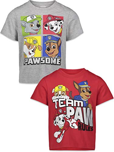Nickelodeon Paw Patrol Boys 2 Pack T-Shirts Marshall, Zuma, Rubble, and...