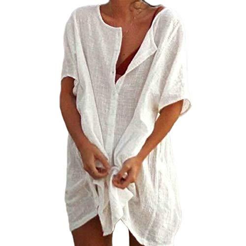 Tamaño Extra Grande De Camisa De Las Señoras Blusa De La Camisa De Manga Corta Ocio Mini Vestido Superior De La Túnica Longtop (White,XL = EU 40)