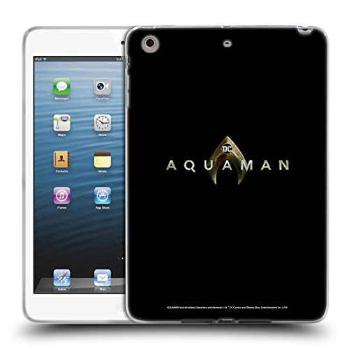Official Aquaman Movie Main Black 2 Logo Soft Gel Case Compatible for iPad Mini 1 / Mini 2 / Mini 3