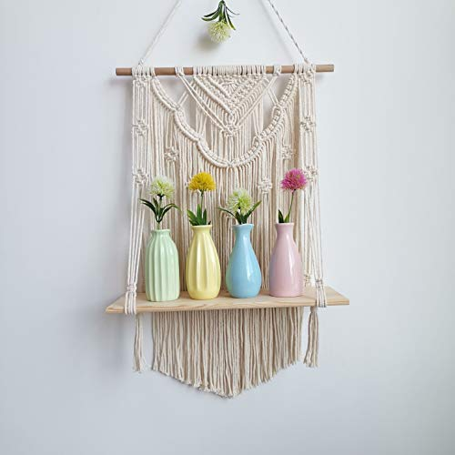 Macrame Wall Hanging Shelf, Wood Hanging Shelf Organizer Hanger, Handmade Cotton Rope Bohomia Woven Home Wall Decor (Flower)