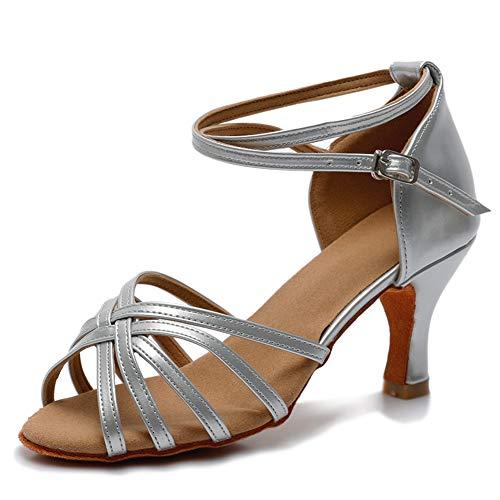VASHCAME-Zapatos de Baile Latino de Tacón Alto/Medio para Mujer Plata 39 (Tacón-7cm)