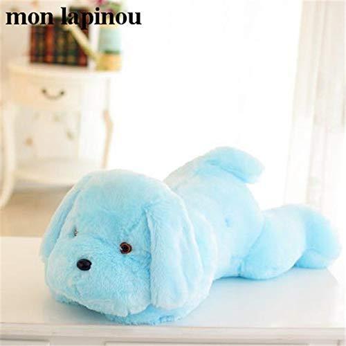 50 cm 85cm LED-Lichtspielzeug-Hunde-Plüsch-Plüsch beleuchtet Welpen-Puppe leuchtendes Kissenspielzeug für Kinder Laimi (Color : 50cm Azul)