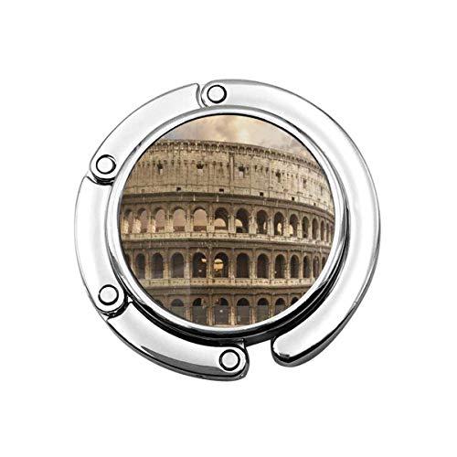 Faltbarer Handtaschen-Aufhänger Geldbörsenhaken, blaues altes Kolosseum Rom Italien Rotes Kolosseum römisches Wahrzeichen