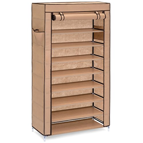 Best Choice Products 9-Tier 40 Shoe Storage Rack DIY Cabinet Organizer w/Dust Cover & 6.5in Tall Shelves, Light Brown