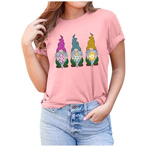 AFFGEQA Maglietta da Donna con Stampa Nana di Pasqua Maglietta a Maniche Corte con Scollo Rotondo