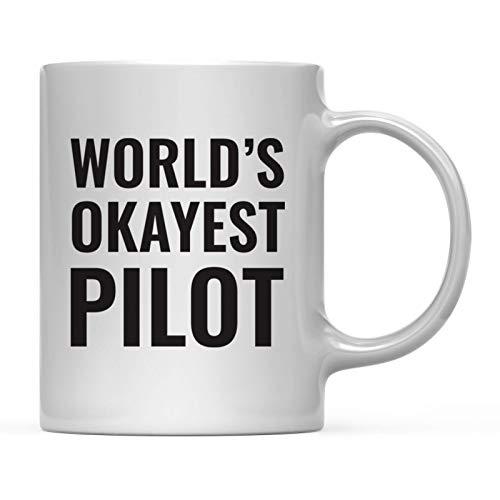 Andaz Press 11oz. Coffee Mug Gag Gift, World's Okayest Pilot, 1-Pack, Funny Witty Coffee Cup Birthday Christmas Present Ideas