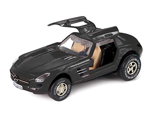 Darda Coche Mercedes Benz SLS AMG 50376 Coche de Carreras con Motor de retracción Intercambiable, Coche de Arrastre, Coche de Carreras para niños a Partir de 5 años, Aprox. 8 cm, Color Negro