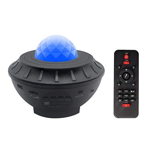 JXBH Sternprojektorlampe, Nachtlicht-Bluetooth-Lautsprecher Mit Fernbedienung Und Timer, Ocean Wave-Projektor Musik-Sternenprojektor