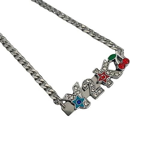 CHENLING Collar de acero inoxidable y2k con letras de diamante Harajuku kt gato cabeza cereza collar milenio caliente chica hip hop accesorios