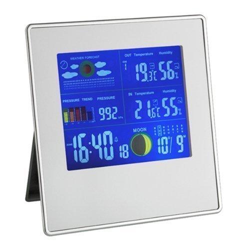 TFA Gallery Funk-Wetterstation 35.1126 mit kabelloser Übertragung der Außentemperatur und Luftfeuchtigkeit (Silber)
