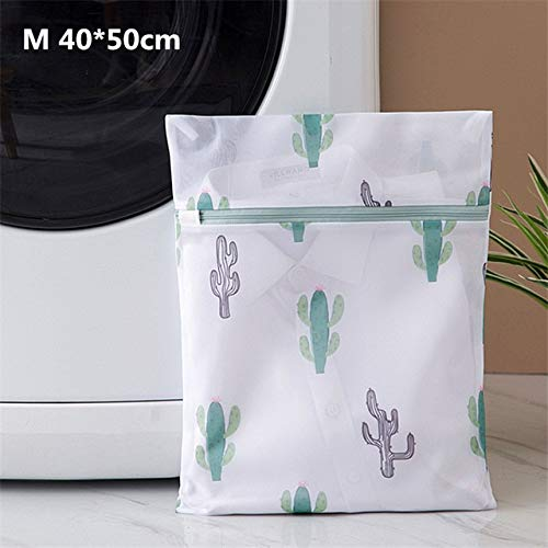 Mdsfe 6 Sizes Polyester Mesh Wash Laundry Bag For Clothes Underwear Household Protected Lingerie Bra Washing Bag Cactus Printing Bags - M 40-50cm
