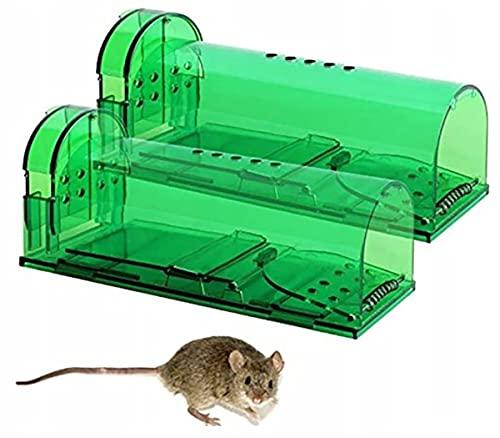 Retoo Wiederverwendbare Mausefalle lebend 2 Stück mit Luftlöchern, Lebendfalle für Verwendung im Innen und Außenbereich, Tierfreundlich und Kinderfreundlich Mauskäfige für Garten oder Haus, Grün
